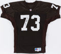 Football Collectibles:Uniforms, Joe Thomas Cleveland Browns Signed Jersey & Football....
