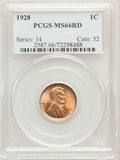 Lincoln Cents: , 1928 1C MS66 Red PCGS. PCGS Population: (422/68). NGC Census: (99/12). CDN: $180 Whsle. Bid for problem-free NGC/PCGS MS66....