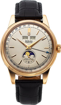 Rolex Rare Ref. 8171 Rose Gold Triple Calendar Wristwatch With Moon Phases, circa 1950's