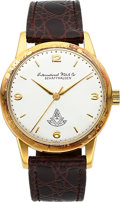Timepieces:Wristwatch, International Watch Co. Caliber 89 Gold Wristwatch With Masonic Dial. ...