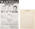 Miscellaneous:Broadside, James Earl Ray Autograph Letter Signed and FBI Wanted Poster. ... (Total: 2 Items)