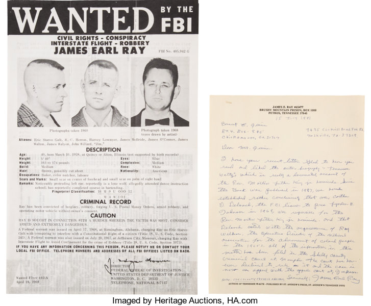 MiscellaneousBroadside James Earl Ray Autograph Letter Signed And FBI Wanted Poster