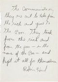 "Autographs, Eldridge Cleaver Autograph Manuscript Signed ""RobinHood"".... (Total: 2 Items)"