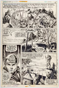 Original Comic Art:Panel Pages, Gil Kane and Tom Sutton Giant-Size Conan #1 Story Page 15Original Art and Page 16 Production Stat (Marvel, 1974).... (Total:2 Items)