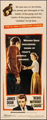 """Rebel Without a Cause (Warner Brothers, 1955). Folded, Fine+. Insert (14"""" X 36""""). Drama"""