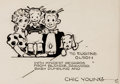 Original Comic Art:Illustrations, Chic Young Custom Blondie Family Portrait Inscribed OriginalArt (c. 1930s)....