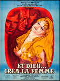 "Movie Posters:Foreign, And God Created Woman (Cocinor, R-1964) Very Fine- on Linen. Full-Bleed French Grande (46"" X 62.25"") Rene Peron Artwork. For..."