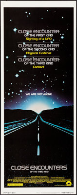 """Close Encounters of the Third Kind (Columbia, 1977) Rolled, Very Fine/Near Mint. Insert (14"""" X 36""""). Science F..."""