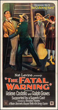 """The Fatal Warning (Mascot, 1929) Very Fine on Linen. Three Sheet (41"""" X 77.5"""") Episode No. 5 -- """"The Clut..."""