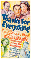 "Movie Posters:Comedy, Thanks for Everything (20th Century Fox, 1938) Fine- on Linen. Three Sheet (40.5"" X 78.75""). Comedy. From the Collection o..."
