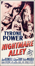 "Movie Posters:Film Noir, Nightmare Alley (20th Century Fox, R-1955) Fine/Very Fine on Linen. Three Sheet (41.5"" X 78.75""). Film Noir. From the Coll..."