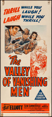 The Valley of Vanishing Men & Others Lot (Columbia, 1942). Folded, Overall: Very Fine-. Stock Australian Daybill...