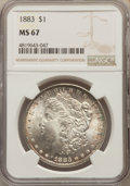 Morgan Dollars: , 1883 $1 MS67 NGC. NGC Census: (129/6). PCGS Population: (149/4). CDN: $1,450 Whsle. Bid for NGC/PCGS MS67. Mintage 12,291,0...