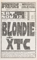 Music Memorabilia:Posters, Blondie/XTC Friars at the Maxwell (Wale) Hall Concert Poster (1977)....