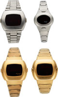 Timepieces:Wristwatch, Four Pulsar Time Computer LED watches, 14K Yellow Gold Filled andStainless Steel, Circa 1970s . ... (Total: 4 Items)