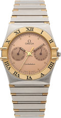 Timepieces:Wristwatch, Omega, Constellation Day/Date, Stainless Steel and 18K Yellow Gold, Quartz, Ref. 396.1080.1, Circa 1990s. ...