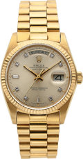 Timepieces:Wristwatch, Rolex, Day-Date President, 18K Yellow Gold with Diamond Dial, Ref. 18048, Circa 1978 . ...