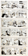 Original Comic Art:Comic Strip Art, Bob Lubbers (as Bob Lewis) Secret Agent X-9 Daily ComicStrip Original Art Group of 6 Consec...