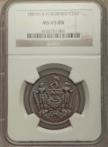 British North Borneo, British North Borneo: British Protectorate Cent 1891-H MS65 Brown NGC,...