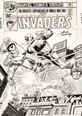 Original Comic Art:Covers, Jack Kirby and John Romita Sr. The Invaders #3 Cover Captain America, Namor, Human Torch Original Art (Marvel, 197...