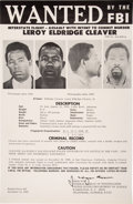 Miscellaneous:Broadside, LeRoy Eldridge Cleaver Oversized FBI Wanted Poster. ...