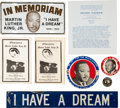 Miscellaneous:Broadside, Martin Luther King, Jr. Group of Pamphlets, Buttons, a Sign andLicense Plate. ...