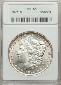 1893 $1 MS63 ANACS. NGC Census: (708/729). PCGS Population: (1381/1581). CDN: $1,275 Whsle. Bid for problem-free NGC/PCG...
