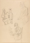 Original Comic Art:Sketches, Heinrich Kley - Three Drawings of a Lady Sketch Original Art(undated)....