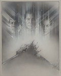 Mainstream Illustration, Steven Chorney (American, b. 1951). Star Trek VI: TheUndiscovered Country, poster study, 1991. Charcoal on paper.19.5 ...