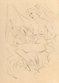 Mainstream Illustration, Gil Elvgren (American, 1914-1980). Nude Ballerina preliminary. Charcoal on tracing paper. 21.5 x 15.5 in. (sight). Not s...