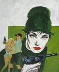 Mainstream Illustration, John M. Burns (British, b. 1938). Modesty Blaise: Uncle Happypaperback cover, 1990. Gouache on board. 22 x 18 in.. Sign...