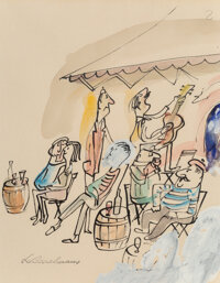 Ludwig Bemelmans (American, 1898-1962) There is shade under gray awnings, a guitar player, a mandolin picker, a