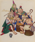 Mainstream Illustration, Arthur Szyk (American, 1894-1951). The Sages, The Marsh King'sDaughter Dust jacket cover, 1945. Gouache on paper. 6.375...