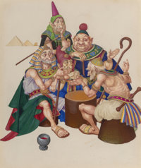 Arthur Szyk (American, 1894-1951) The Sages, The Marsh King's Daughter Dust jacket cover, 1945 Gouac