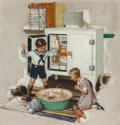 Mainstream Illustration, Saul Tepper (American, 1899-1987). Among the Ice Cubes, GeneralElectric refrigerator advertisement, 1931. Oil on canvas...