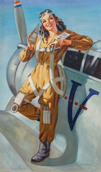 Edward D'Ancona (American, 20th Century) Aviatrix Oil on canvas 40 x 24 in. Signed lower right