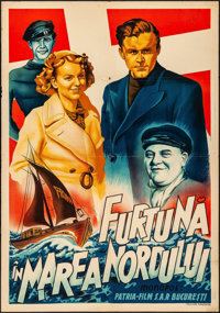 """Storm in the North Sea (Patria-Film, 1940s). Folded, Fine/Very Fine. Romanian Poster (28.5"""" X 40""""). Foreign..."""