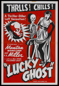 "Movie Posters:Comedy, Lucky Ghost (Toddy Pictures, R-1943). One Sheet (27"" X 41""). ComedyThriller. Starring Mantan Moreland, F.E. Miller, Maceo B..."