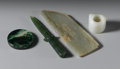 Asian:Chinese, GROUP OF CHINESE JADE/HARDSTONE PIECES. Group of four Chinesecarved jade/hardstone pieces: an archer's ring, of celadon c...(Total: 4 )