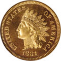 Proof Indian Cents: , 1881 1C PR66 Red Cameo NGC. Coins like this full Red 1881 proof Cameo cent do not come along all that often. Razor-sharp de...