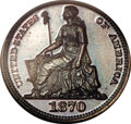 Patterns: , 1870 H10C Half Dime, Judd-818, Pollock-907, Low R.7, PR66 BrownNGC. The obverse shows a figure of Liberty seated facing le...