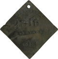 Antiques:Black Americana, 1856 Charleston SERVANT Slave Hire Badge. Number 2316. A flat diamond-shaped tag with suspension hole at the top, 55mm x 58m...