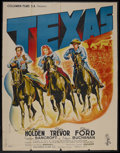 """Movie Posters:Western, Texas (Columbia, 1941). French Grande (47"""" X 63"""") Post-War Style B. Western. Starring William Holden, Glenn Ford, Claire Tre..."""