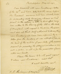 "Thomas Jefferson Historically Important Autograph Letter Signed: Just a month after George Washington's ""Proclamati..."