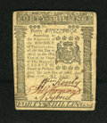 Colonial Notes:Pennsylvania, Pennsylvania April 25, 1776 40s Choice About New++. A fainthorizontal centerfold is detected on this boldly signed and wond...