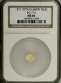 California Fractional Gold: , 1871 25C Liberty Octagonal 25 Cents, BG-714, R.3, MS66 NGC. Ahighly lustrous and exquisitely preserved canary-gold example...