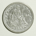 Counterstamps: , Counterstamped Seated Liberty Quarter Two-Piece Lot. Two 1853 Arrows and Rays quarters: one counterstamped J.M. Taylor Broke... (Total: 2 tokens)