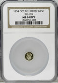 California Fractional Gold: , 1854 25C Liberty Octagonal 25 Cents, BG-105, R.3, MS64 Deep MirrorProoflike NGC. This exceptionally reflective straw-gold ...