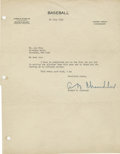 Autographs:Letters, 1949 Happy Chandler Signed Typed Letter. Hall of Fame executiveHappy Chandler penned a glorious example of his signature t...