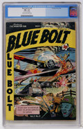 Golden Age (1938-1955):War, Blue Bolt V3#9 (Novelty Press, 1943) CGC FN+ 6.5 Cream to off-whitepages....